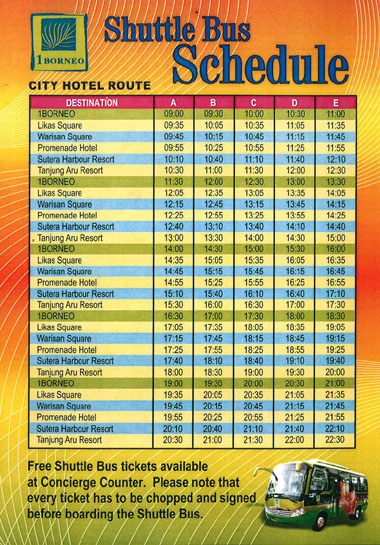 1borneo shuttle bus schedule kotakinako for 99 bus table