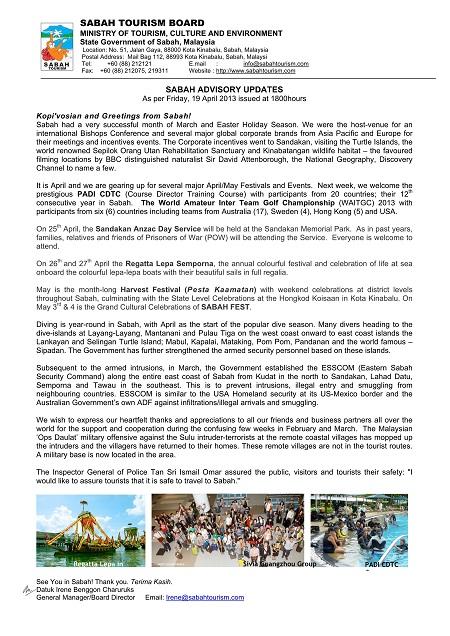 Sabah Advisory 19th April