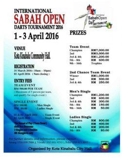 SABAH OPEN DART TOURNAMENT 2016